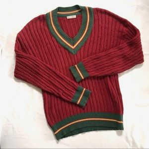 Vintage collegiate cable knit v neck sweater